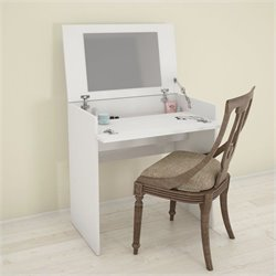 Vanity with Enclosed Storage and Mirror in White