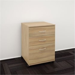Nexera Essentials 3-Drawer Mobile Filing Cabinet in Biscotti
