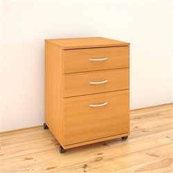 Nexera Essentials 3-Drawer Mobile Filing Cabinet in American Beach