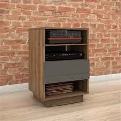 Nexera Radar 1-Drawer Audio Cabinet in Walnut and Charcoal