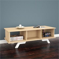 Nexera Stiletto Coffee Table in Natural Maple and White