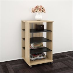 Nexera Jasper Mobile Storage Tower in Biscotti and Black