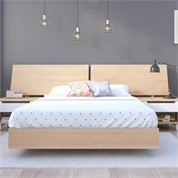 Nexera Nordik Full Platform Bed with Panoramic Headboard in Maple