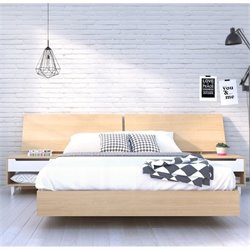 Nexera Nordik Queen Platform Bed with Panoramic Headboard in Maple