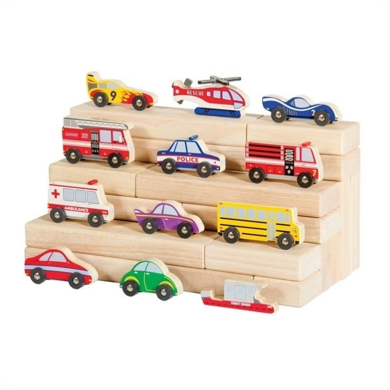 Guidecraft Wooden Vehicle Set