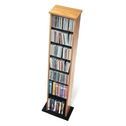 Prepac Slim Multimedia CD DVD Storage Tower in Oak and Black