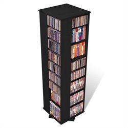 Prepac Large 4-Sided CD DVD Spinning Media Storage Tower in Black