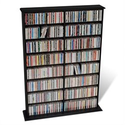 Prepac Double Width CD DVD Wall Media Storage Rack in Black
