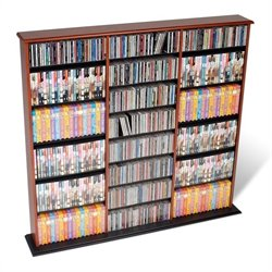 Prepac Triple Width CD DVD Wall Storage Media Tower in Cherry and Black