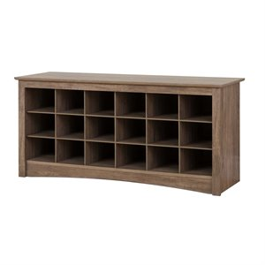 18 Cubby Shoe Storage Bench in Drifted Gray