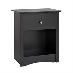 Prepac Sonoma 1 Drawer Tall Nightstand in Black