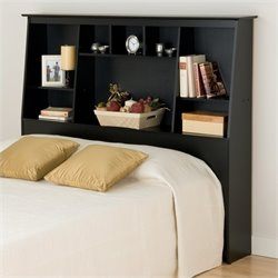 Prepac Slant-Back Tall Full Queen Bookcase Headboard in Black