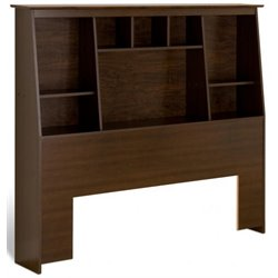 Slant-Back Tall Full Queen Bookcase Headboard in Espresso