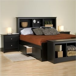 Black King Platform Storage Bed 4 Piece Bedroom Set