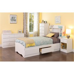 Astrid 5 piece Twin Platform Bedroom Set in White