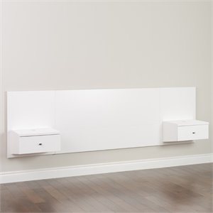 Prepac Floating Headboard with Nightstand in White