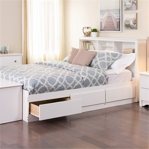 Prepac Monterey Full Platform Storage Bed in White