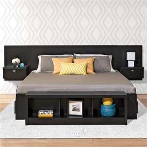 Prepac Sonoma King Platform Storage Bed in Black