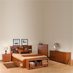 Cherry Full Wood Platform Storage Bed 4 Piece Bedroom Set