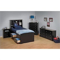 Black Tall Twin Wood Platform Storage Bed 3 Piece Bedroom Set