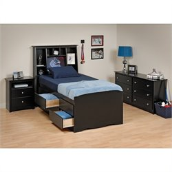 Black Tall Twin Wood Platform Storage Bed 4 Piece Bedroom Set