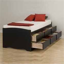 Twin Platform Storage Bed 6 Piece Bedroom Set in Black