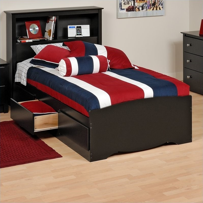 Sonoma Black Twin Platform Storage Bed with Drawers