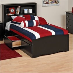 Prepac Sonoma Black Twin Platform Storage Bed with Drawers