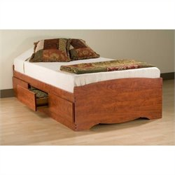 Cherry Twin Platform Storage Bed
