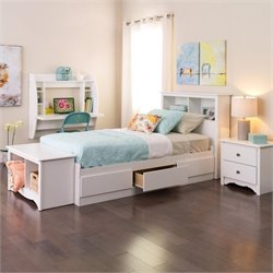 White Twin Platform Storage Bed