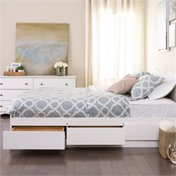 White Full Platform Storage Bed