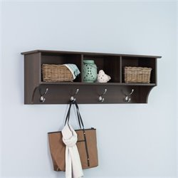 Prepac Fremont Espresso Entryway Cubbie Shelf Coat Rack