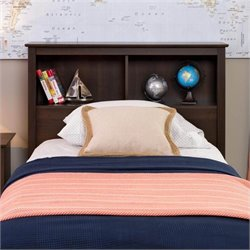 Prepac Fremont Twin Bookcase Headboard in Espresso
