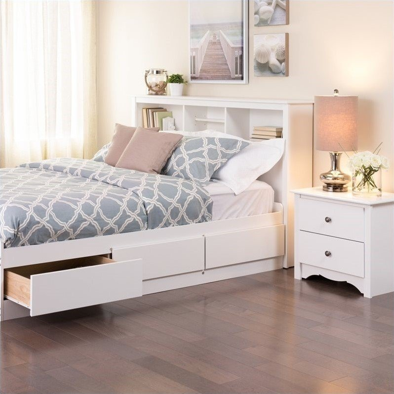 Full / Queen Bookcase Headboard in White - WSH-6643