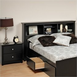 Black Full / Queen Wood Bookcase Headboard 2 Piece Bedroom Set