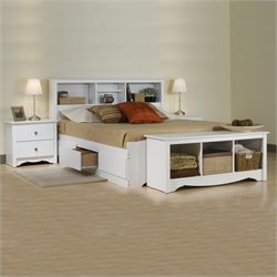 Prepac Monterey White Full Platform Storage Bed 3 Piece Bedroom Set