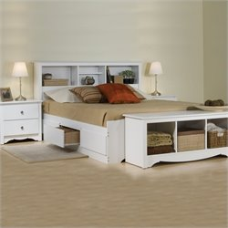 White Queen Wood Platform Storage Bed 3 Piece Bedroom Set