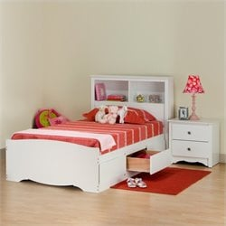 White Twin Wood Platform Storage Bed 3 Piece Bedroom Set