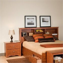 Prepac Monterey Cherry Double or Queen Bookcase Headboard 2 Piece Bedroom Set
