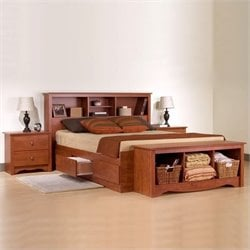 Prepac Monterey Cherry Queen Wood Platform Storage Bed 3 Piece Bedroom Set