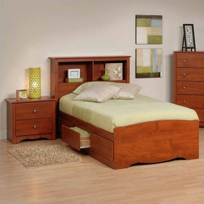 Prepac Monterey Cherry Twin Wood Platform Storage Bed 3 Piece Bedroom Set