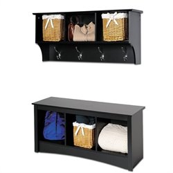 Black Cubbie Bench and Wall Coat Rack Set