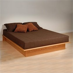 Prepac Oak Queen Platform Bed