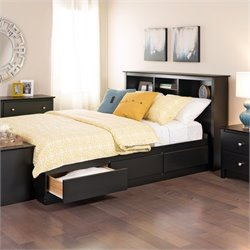 Prepac Sonoma Black Bookcase Platform Storage Bed with Headboard - Queen