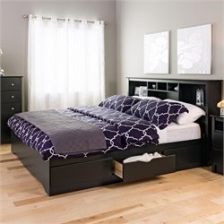 King Bookcase Platform Storage Bed in Black