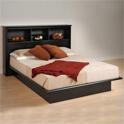 Black Queen Bookcase Platform Bed