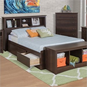 Bookcase Platform Storage Bed in Espresso Finish