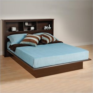 Double / Full Bookcase Platform Bed in Espresso Finish
