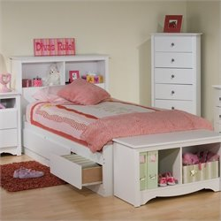 White Twin Bookcase Platform Storage Bed