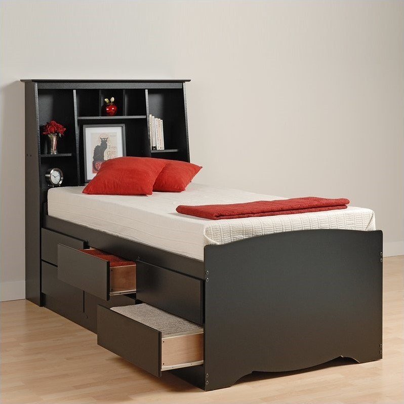 Prepac Sonoma Black Tall Twin Bookcase Platform Storage Bed